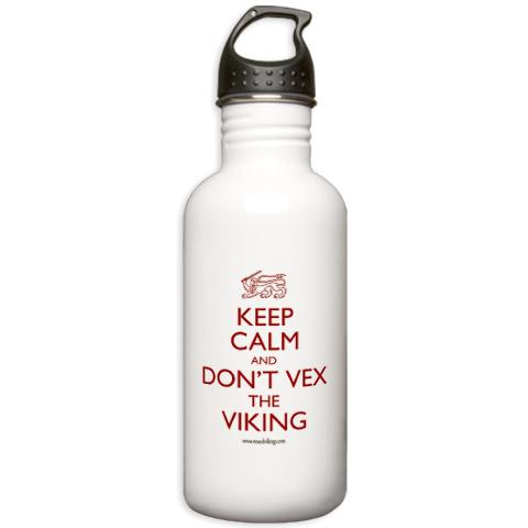 keep calm and dont vex the viking water bottle